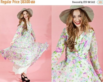 FLASH SALE 60s Pink Chiffon Maxi Vintage Pastel Pink Floral Dress
