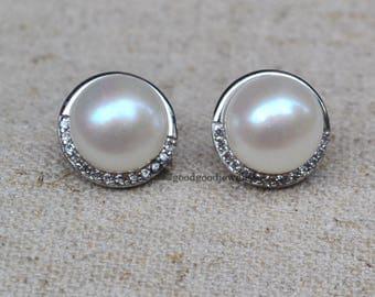 real pearl earrings,AAA 10.3mm white pearl earrings with sterling silver post,freshwater pearl and zircon earrings,pearl stud Earrings