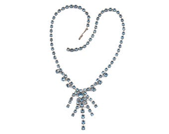 Ice blue Austrian crystal necklace for your wedding, special occasion, holiday, vintage