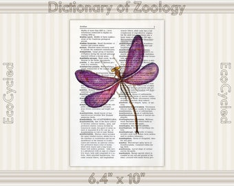 Dragonfly 3 on Vintage Upcycled Dictionary Art Print Book Art Print Insect Illustration bookworm gift book lover art dragonfly art print