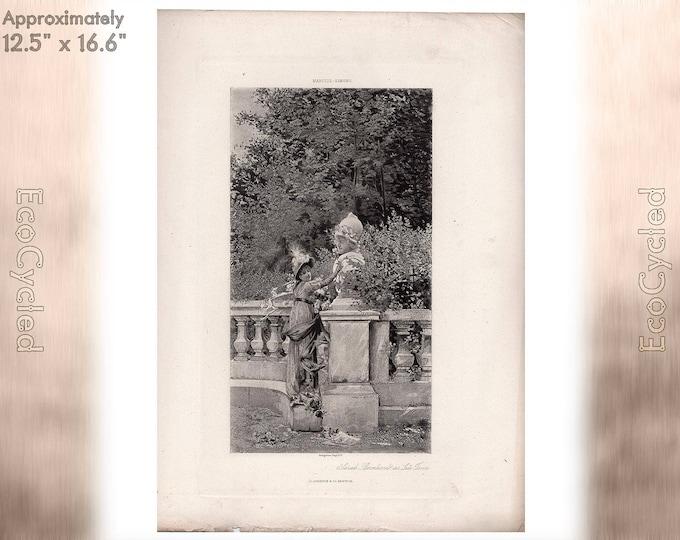 Sarah Bernhardt as Lea Tosca by Marcius Simons Antique Photogravure Print Goupil Vintage Paper Ephemera zyxG23