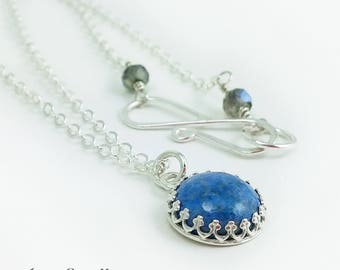 Sterling Silver and Denim Lapis Necklace - Small Blue Stone Necklace - Denim Blue Necklace - READY TO SHIP