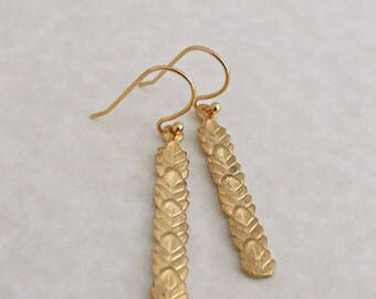Leaf Earrings .. gold earrings, nature, layered, stick earrings, rustic