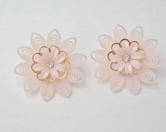 Pastel Pink Soft Rubber Pliable Flower Petals Gold Cut Out Trim Rhinestone Center Costume Jewelry Vintage 1950's Mid Century Earrings