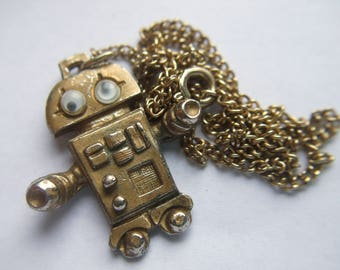 Vintage 1970s Unique Retro Space Robot Pendant Charm Jewelry Necklace