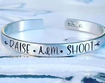 Archery Cuff Bracelet - Hand Stamped Cuff Bracelet - Raise Aim Shoot Bracelet - Archery Mom Bracelet - Mom Jewelry - Gift for Mom