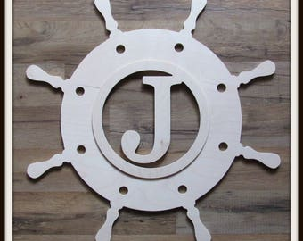 """Ships Wheel Door Hanger with Times Font Monogram Letter - Unpainted Wood - 22"""" size - Nautical Decor- Helm - Wooden Letter - Wall Hanging"""