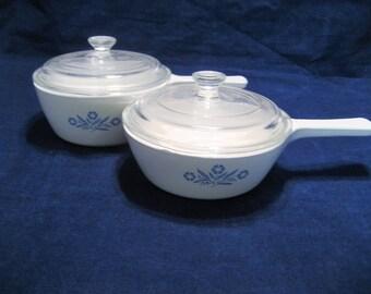 Corningware 1 1/2 Pint and 1 Pint Cornflower Blue Sauce Pots, Pans with Lids Vintage 1970s