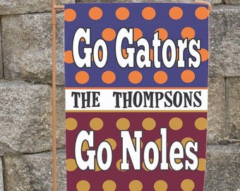 Custom House Divided Yard Flag  You Pick  Team House or Garden Size Florida State Gators Noles  Iowa  Michigan LSU Texas Personalized Flag