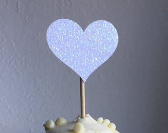 Set of 12 White Heart Cupcake Toppers