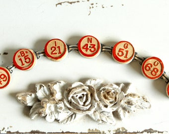 Bingo Bracelet , Vintage wooden calling numbers antique retro up cycled jewelry wood game pieces gift player good luck steampunk recycled