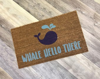 Whale Hello There   Custom or Personalized Doormat   Summer Beach Decor   Newlywed or Housewarming Gift   Monogrammed Doormat   Home Decor