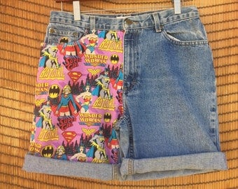 Women Super Hero Handmade Jean Shorts