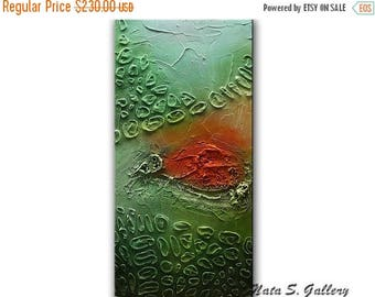 Summer SALE Original Abstract Painting, Turquoise Green Orange Painting, Heavy Textured Art, Mixed Media Acrylic Painting, Wall Decoration