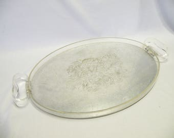 Lucite and Pewter Tray - Oval Serving Tray - Vintage Lucite Tray, Retro Pewter Serving Tray, Mid Century, Modern Decor