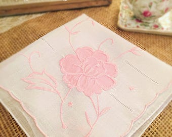 Vintage Hankie, White with Pink Flower Applique, Wedding, Mother of the Bride Handkerchief, Bridesmaid, Maid of Honor Hanky