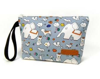 Woodland Zipper Pouch, Cosmetic Bag, Makeup Bag, Toiletry Bag, Supply Bag, Purse Organizer, Zipper Wristlet, Canvas Bag, Elephant bag
