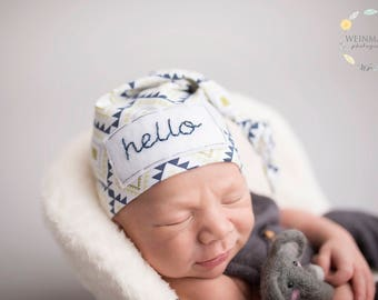 Hello newborn hat - baby knot hat name - newborn boy coming home outfit - personalized newborn hat - hospital hat - newborn photo prop
