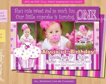 cupcake birthday invitation 1st birthday cupcake invite lil cupcake first birthday photo baby girl 1st birthday invitations picture purple