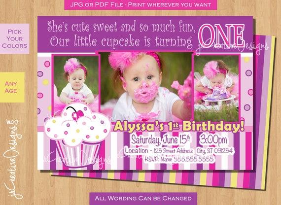 Cupcake birthday invitation 1st birthday cupcake invite lil cupcake il570xn filmwisefo