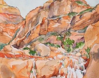 Grand Canyon Stone Creek Waterfall - Hand Enhanced Giclee Print of Watercolor Painting