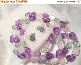 50% Off Sale Vintage Avon Tourmaline Impressions Bead Necklace and Pierced Style Matching Earrings