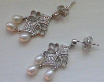 14k Diamond & Natural Pearl Chandelier earrings
