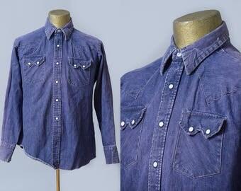60s Sun Faded Denim Western Pearl Snap Sawtooth Pocket Work Shirt