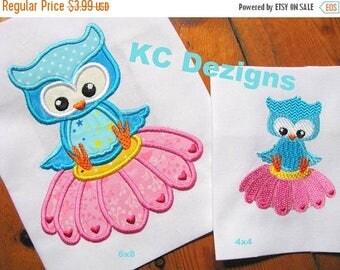 ON SALE Spring Owl Sitting On Flower Machine Applique Embroidery Design - 4x4, 5x7 & 6x8