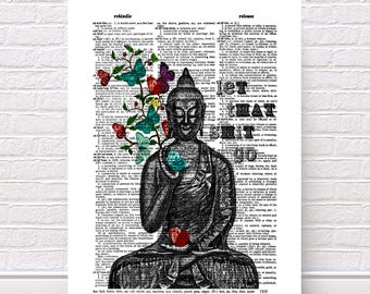 Buddha Butterflies / Let That Shit Go / Meditating Buddha Zen Funny Wall Art / Vintage Book Dictionary Giclee / Art Print / Poster Print
