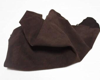 Italian Lambskin Lamb leather skin skins hide hides NABUCK BROWN 4sqf #A2399