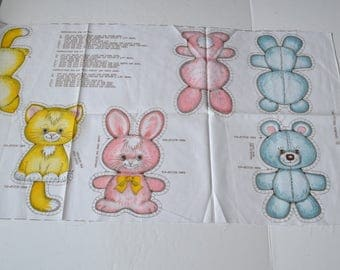 Vintage RARE Springs Mills  pattern 7409 Dog Cat Bunny Bear 80s Pillow Doll making Soft Toy set  4 baby animal Quilting appliqué embroidery