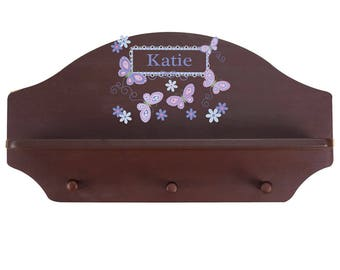 Personalized Espresso Wall Rack and Shelf with Lavender Butterflies Design-shel-esp-300b
