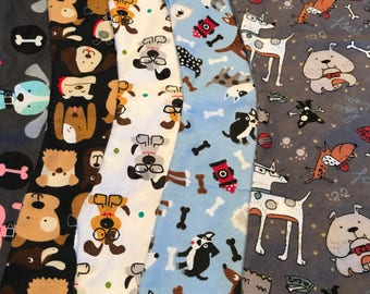 """5 Pack """"dogs"""" neutral burp cloths for babies"""