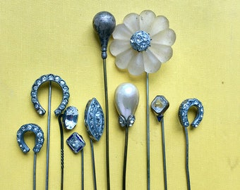 instant collection of 10 vintage antique stick pins, hat pins, lucky horse shoes, rhinestones, pearl, flowers