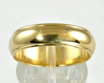 Vintage Wedding Band - Men's - 14kt Yellow Gold - Size 9.25 - Wedding ring