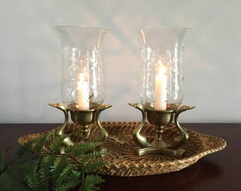 Hurricane Candle Holders / Brass Swan Hurricanes  / Art Deco / Mantel Decor / Buffet Candle Holders