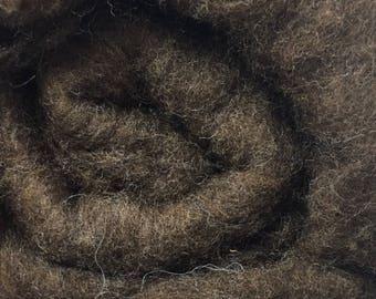 Dark brown short fiber merino wool batt for spinning or felting, 200g