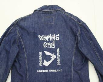 Vintage Levi's Engineered Jeans Denim Jacket - Vivienne Westwood Punk Screenprint Worlds End Kings Road-Women Fitted Cut Medium Large 42
