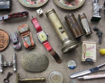 Huge Antique Junk Drawer Lot of Small Collectibles  Destash Vintage Porky Pig Watch Tags Souvenirs Milk Bottle Caps Razor Ribbons Escutcheon