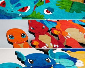 Pokemon Evolution - Wooden Wall Hangings