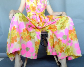 bright floral jumpsuit dress, palazzo jumpsuit, 60s vintage, neon pink, small