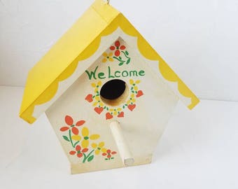 Handmade Blue Bird House Wood Painted Floral Arkansas Pine Yellow Green Orange Welcome Mouse