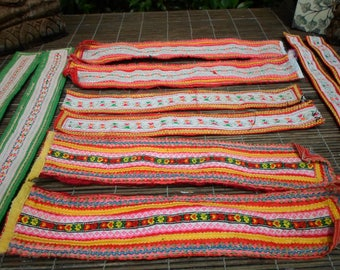 Tribal Textile Up cycled Supply Pieces 10pcs Small Strap