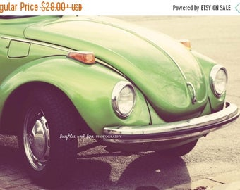 Christmas in July VW Bug Photo, Vintage Volkswagon Photography, Retro Lime Green Hippie Car Picture, Dorm Bedroom Office Livingroom Print, H