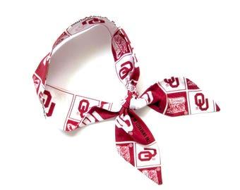Oklahoma Scarf, Skinny Scarf, Sooners Scarf, Neck Scarf, Purse Scarf, Oklahoma Football, Oklahoma Spirit, Oklahoma Accessory, Ready to Ship