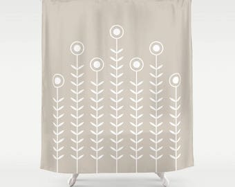 36 colours, Oyster beige, Minimalist Flowers Shower Curtain, Scandinavian style, geometric shower curtains, flower pattern bathroom decor