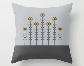 5 options, SPRING SHOOTS Minimalist Flowers Pillow, Gray, Charcoal black, Spicy Mustard, Nordic, Faux Down Insert, Indoor or Outdoor cover