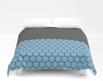 10 colours, Dusk Blue, Hexagon Honeycomb Half Pattern Duvet Cover, Minimalist duvet, double duvet, king duvet cover, queen duvet cover