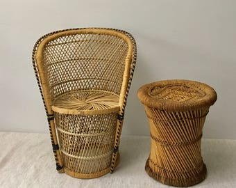 Vintage Natural Rattan Wicker Peacock Child's Chair